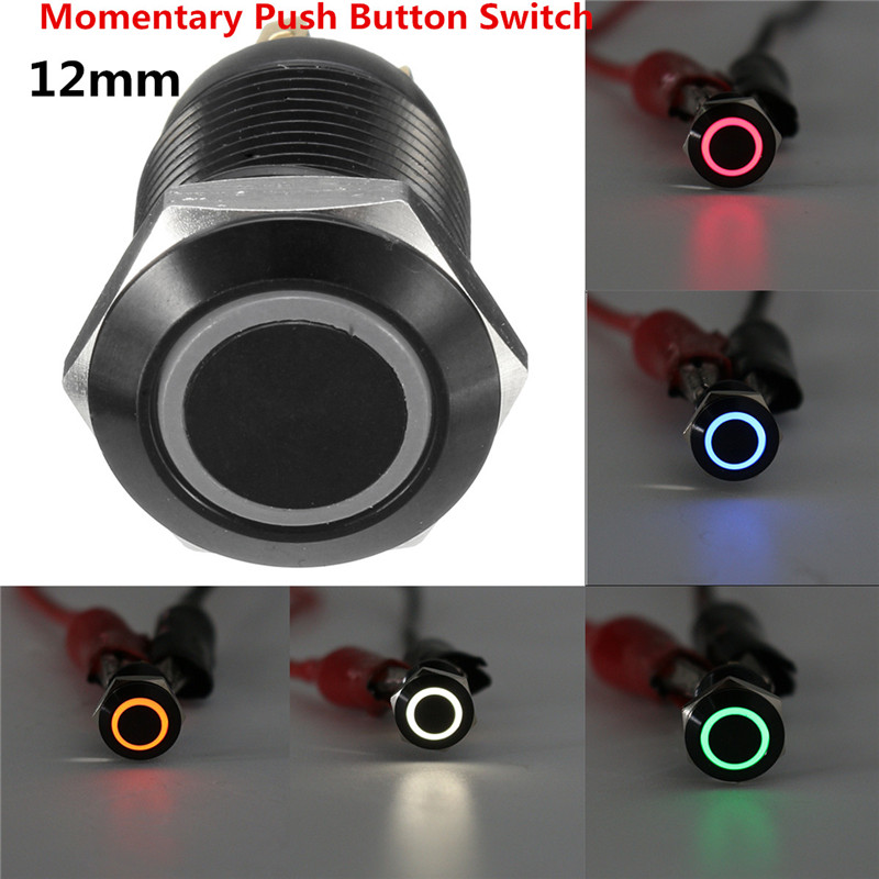 1PC 12mm Black Metal 12V 5 Colors LED Light Momentary Latching Push Button Switch Waterproof ON/OFF For Car Boat 1 x 16mm od led ring illuminated latching push button switch 2no 2nc