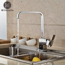 Хромированная отделка вращения вертикальный кухни смесители Палуба Гора горячей и холодной смесители водопроводный кран для кухни