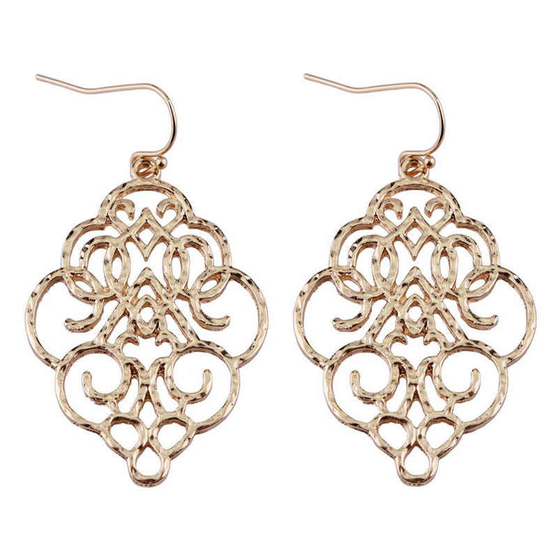 ZWPON New Gold Filigree Morocco Earrings for Women Fashion Drop Earrings Jewelry Zinc Alloy Basic Statement Earrings 2018