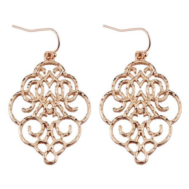 ZWPON New Gold Filigree Morocco Earrings for Women Fashion Drop Earrings  Jewelry Zinc Alloy Basic Statement Earrings 2018 b546878bcb36
