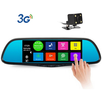 New 7 Inch16GB Special Android 4 4 Car DVRDual Lens Camera Rearview Mirror Full HD 1080PBluetooth