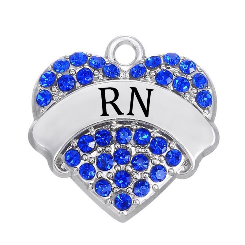 double nose clear crystal rhodium finish rn pave heart charm