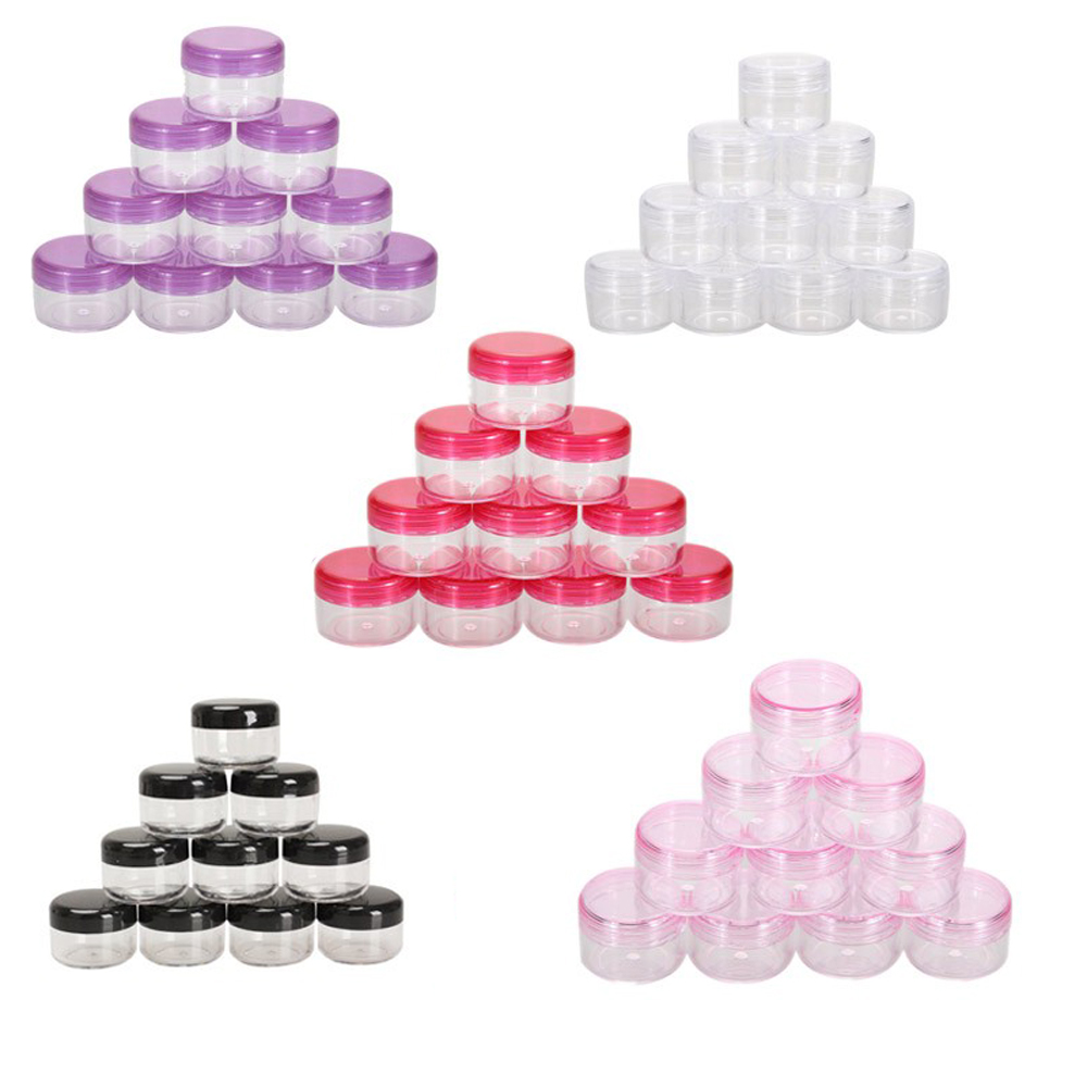 10PCS Cosmetics Jar Box Makeup Cream Nail Art Cosmetic Bead Storage Pot Container Round Bottle Portable Plastic Transparent Case 25pcs powder paillette rhinestone storage plastic box case nail art cosmetic empty jar pot makeup face cream container bottle