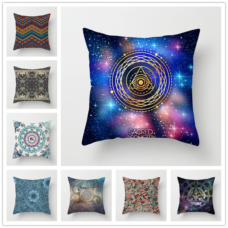 Houspace Polyester Peach Skin Sacred Geometry For Home Pillow Decor Sofa Car Decorative Gift Chair Seat Pillow Case