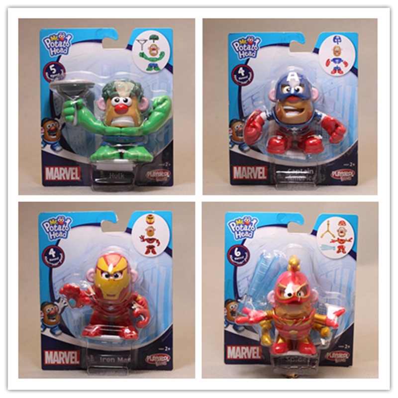 Iron Man Figures Toy Potato-Head Avengers-Captain-America Cosplay Spider-Man 4piece/Lot