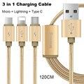 Baseus 3in1 multifunción cable de carga rápida para xiaomi huawei iphone 5 6 7 plus samsung galaxy htc sony 2in1 cable de carga de datos