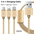 Baseus Multifunction 3in1 Fast Charging Cable For Xiaomi Huawei iPhone 5 6 7 Plus Samsung Galaxy HTC Sony 2in1 Data Charge Cable