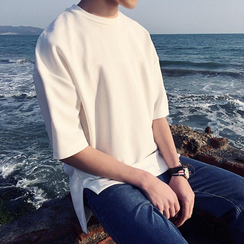 2018 été T-shirt surdimensionné à manches courtes mâle lâche col rond pull de poche t-shirt blanc moyen-long de haute qualité hommes w