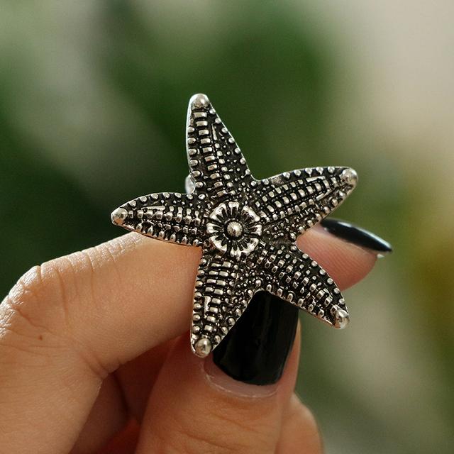 Boho Silver Color Starfish/Shell Ring