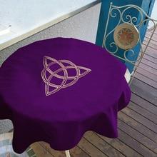 80X80Cm Tarot Tafelkleed Wicca Zon, pentagram Fluwelen Tarot Doek Board Game Play Mat Accessoires Borduurwerk Tafel Dekken