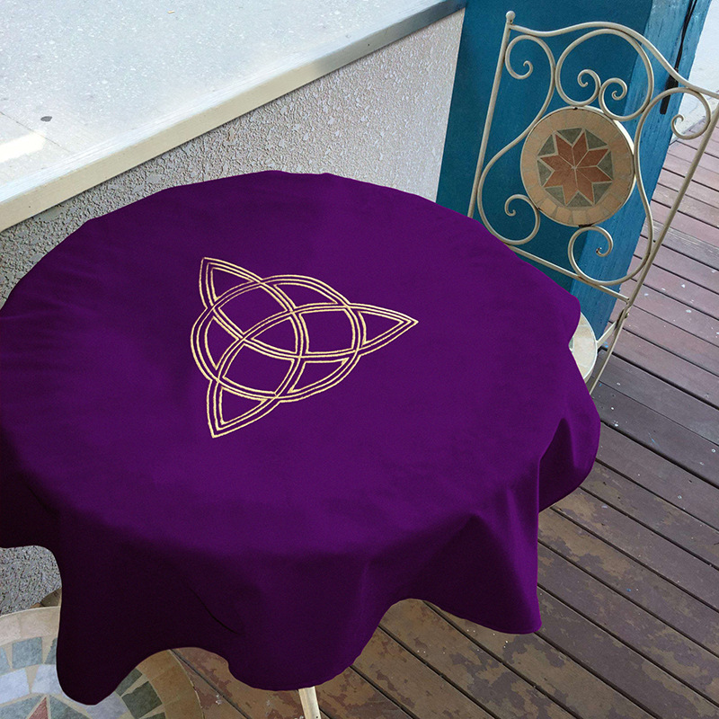 80x80cm Tarot Tablecloth Wicca Sun,pentacle Velvet  Tarot Cloth  Board Game Play Mat Accessories Embroidery Table Cover