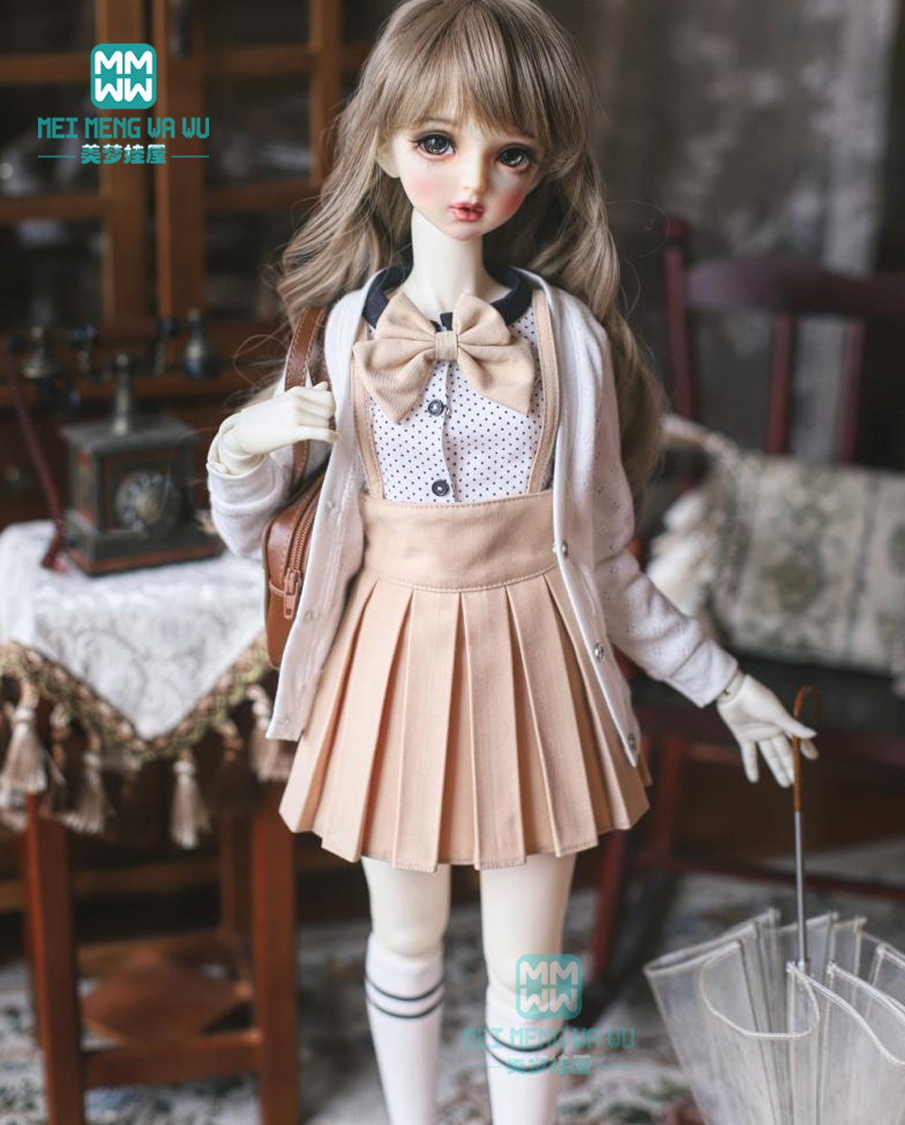 BJD Accessories Doll Clothes For 60cm 1/3 BJD Doll Fashion Shirt Pleated Skirt