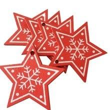 10pcs/Lot DIY Natural Wood Christmas Ornaments Pendant Hanging Gifts Snowflakes Xmas Tree Decor  Home Wedding Decorations