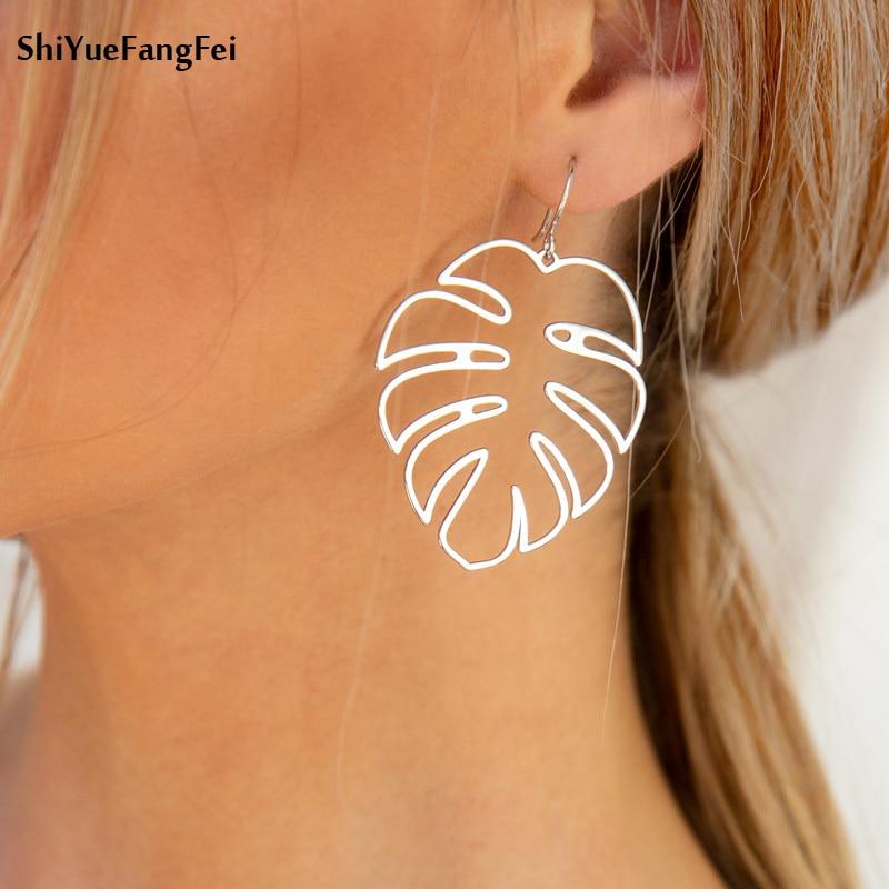 2018 New Listing Tropical Leaf Earrings Female Indian Jewelry Boho Retro Statement Hook Pendant Earrings Pattern Jewelry(China)