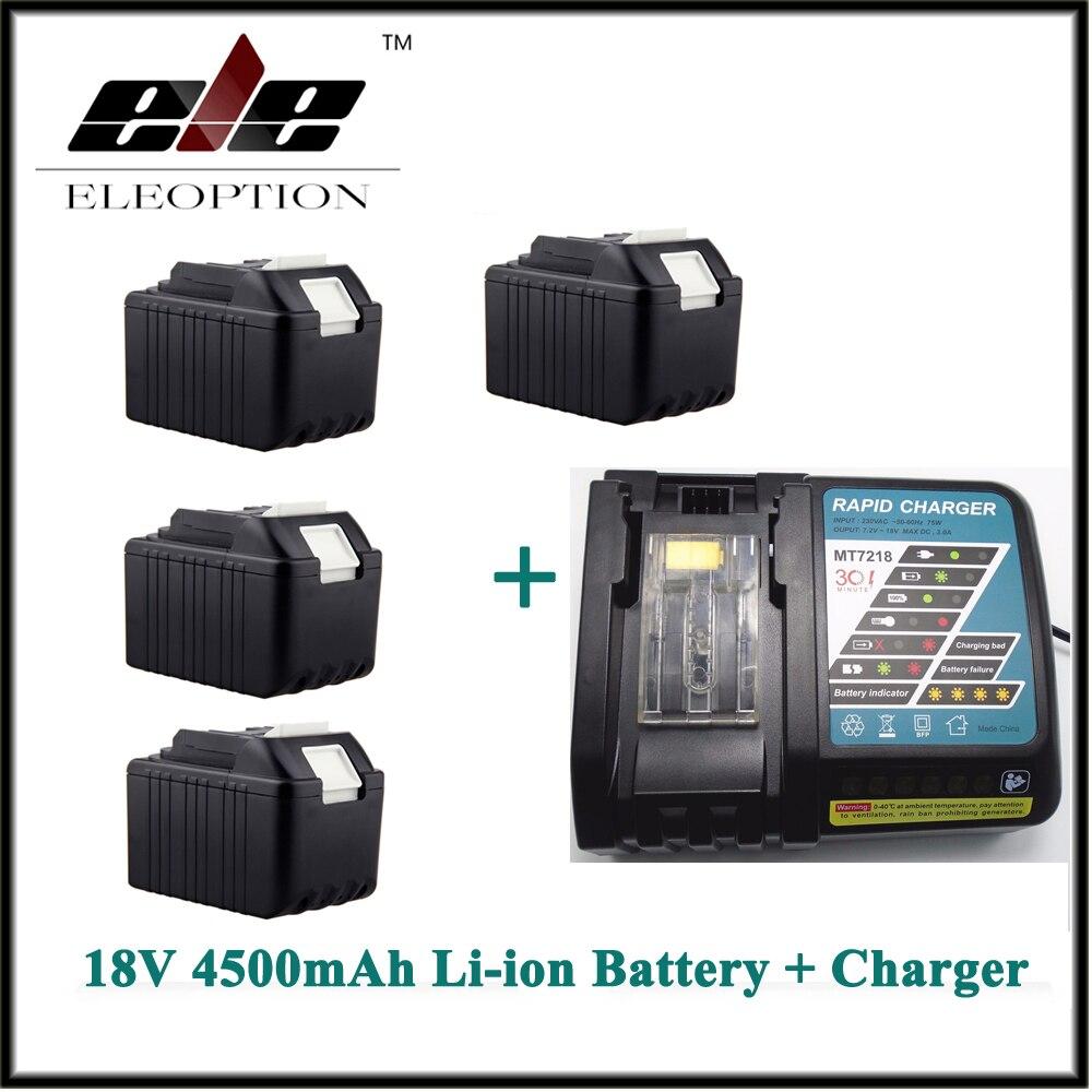 Eleoption 4 PCS Rechargeable Power Tool battery for Makita 4500mAh 18V Li-ion BL1830 LXT400 194205-3 BL1840 Battery + Charger power tool rechargeable battery charger for makita dc18rc li ion battery rapid 9a charger bl1415 bl1430 bl1815 bl1830