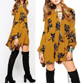 2016 women's printing design colorful loose dress long sleeve V-collar cotton dress fashion bohe elegant casual spring dress