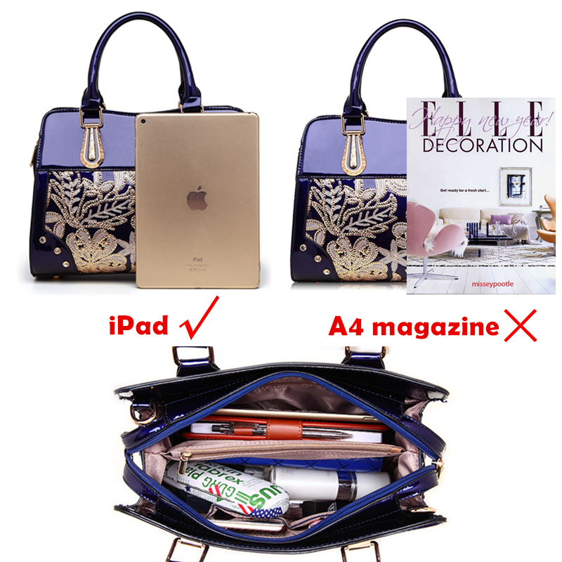 Burminsa Winter Glitter Flower Women Patent Leather Handbags Unique Design High Quality Sequin Ladies Shoulder Messenger Bags