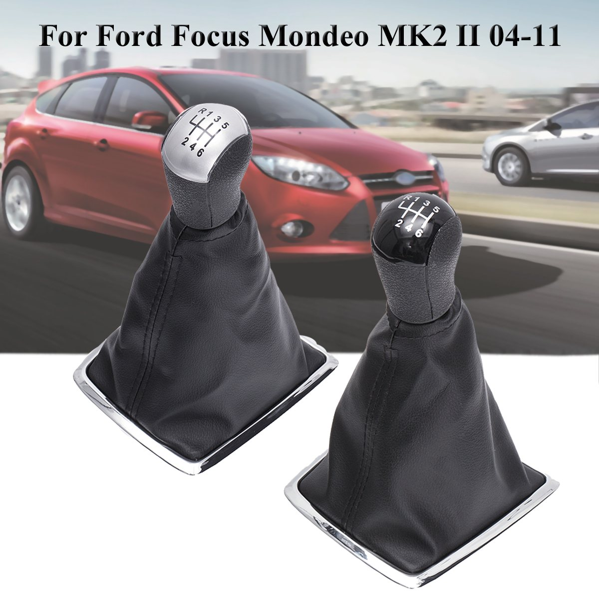 6 Speed PU leather Shift Knob Stick Lever Gaiter Cover For Ford for Focus for Mondeo MK2 II 2004-2011 6 44 2011