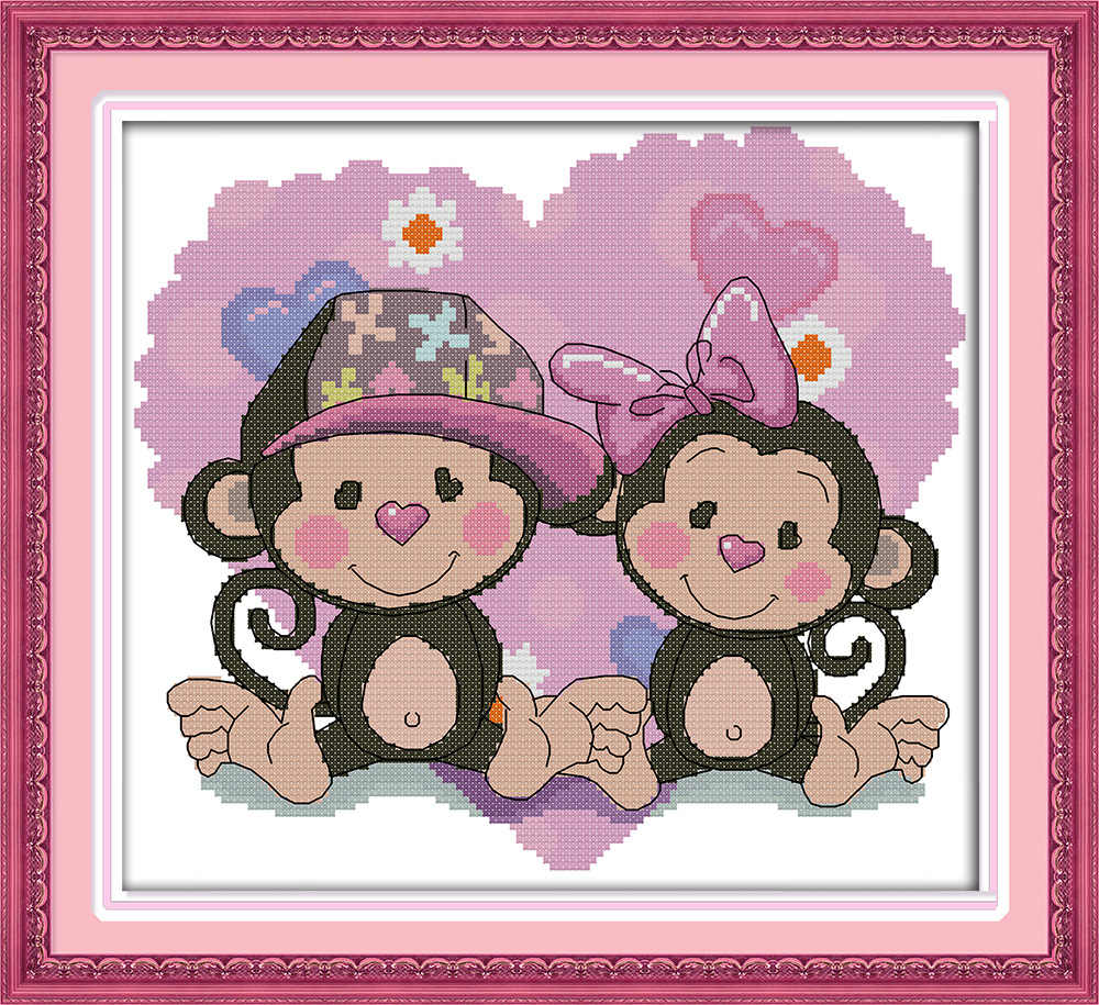 Romantic monkey lovers Canvas DMC Counted Cross Stitch Kits printed Cross-stitch set Embroidery Needlework