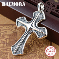 BALMORA 925 Sterling Silver Cross Pendants for Women Men Religious Jewelry Accessories Silver Pendant Without a Chain SY11356