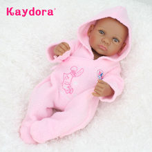 Kaydora 10 inch 25cm Full Silicone Reborn Baby Doll lol Lifelike Mini Black African American Realistic Bebe Kid Gift bebe Toy(China)