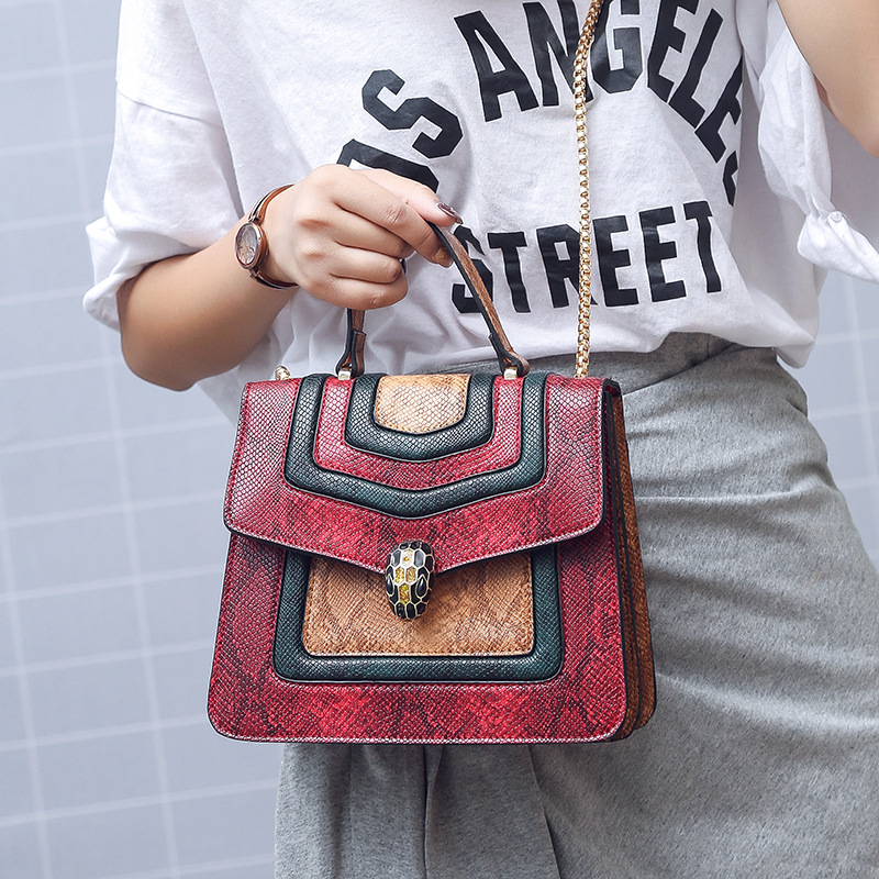 New Arrival Trendy Shoulder Snake Small Square Bag Magnetic Buckle Handbag Chain Fashion Shoulder Bag Crossbody Bags for Women 2