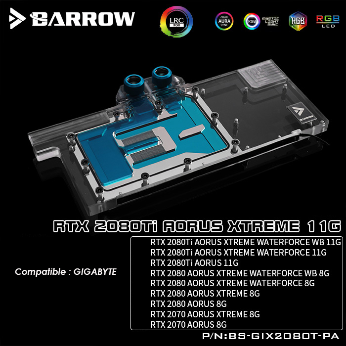 BS GIX2080T PA Barrow gpu water block for GIGABYTE RTX 2080TI AORUS XTREME 11G gpu water