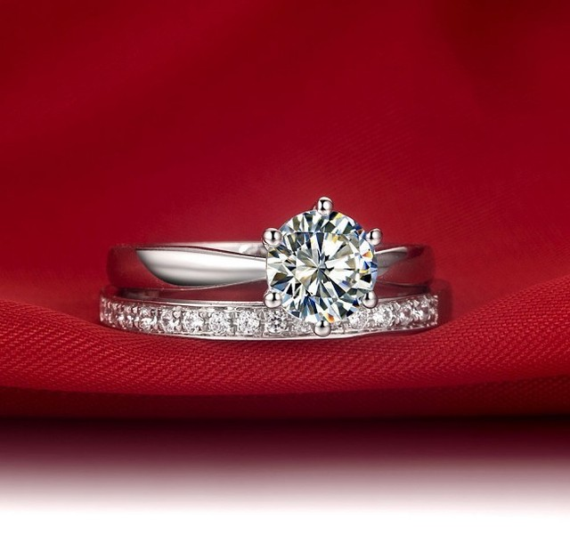 Classic Gold 14K White Gold 1CT Crown Engagement Rings Set SONA