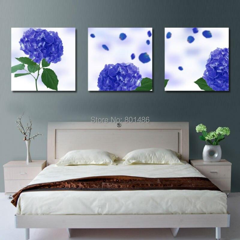 Precio de fábrica-3 unidades/paneles azul Hortensia floral pintura ...