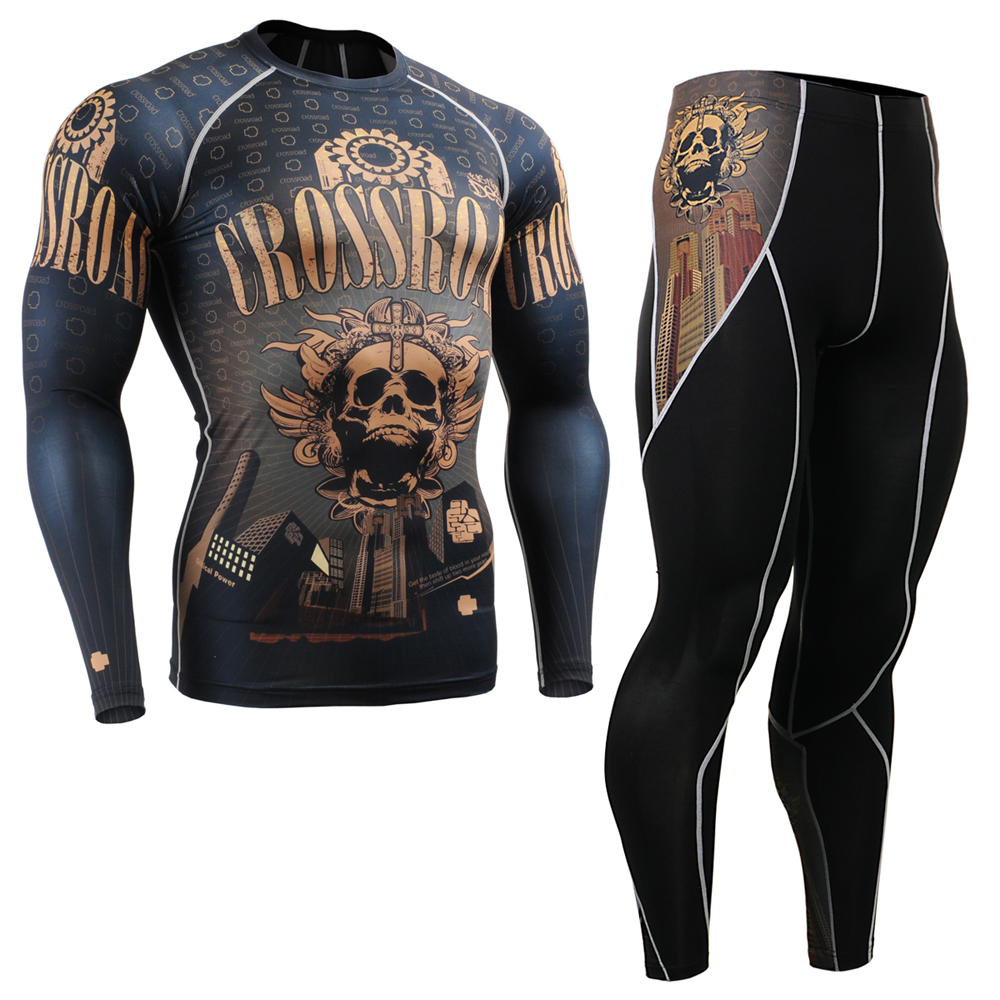 Homme Compression chemises & collants ensemble course costume entraînement MMA entraînement Fitness Yoga vêtements ensemble peau serrée Gym CFL/P2L-B27