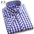 Langmeng 2015 hot sale men casual shirt summer short sleeve plaid shirts fashion men clothing high quality men dress shirts