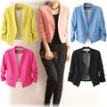 2015 New Fashion Women Candy Colors Jackets Slim Fit Suit Coat Short Jacket Outerwear Free Shipping Girl's Clothing