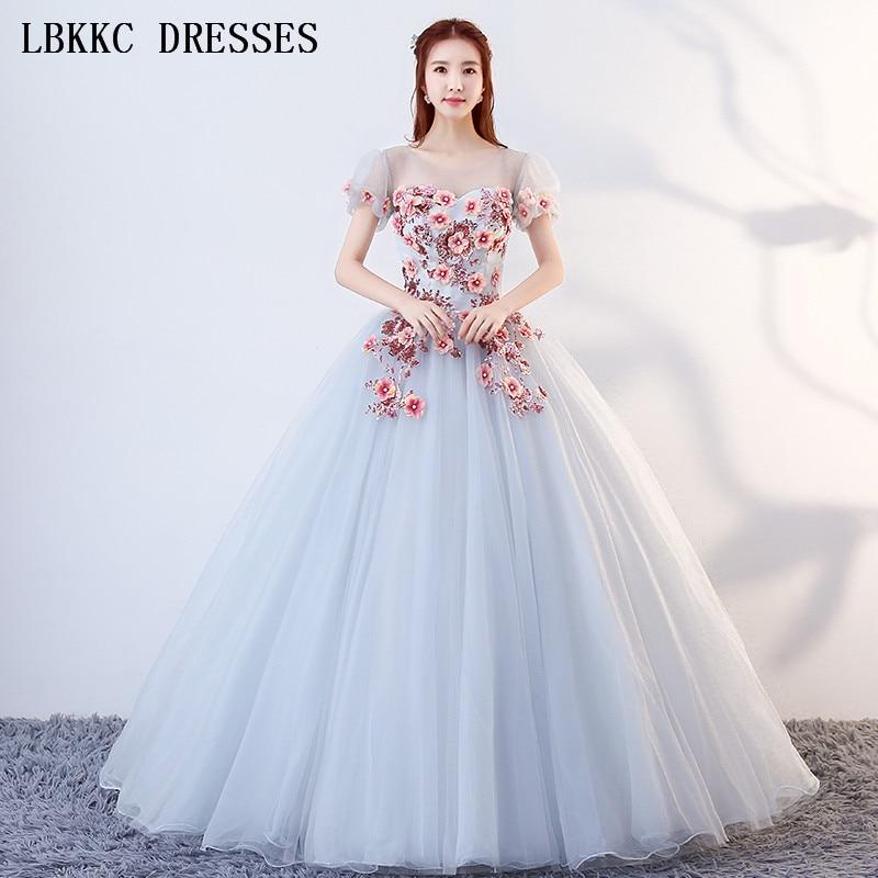Бальное платье с пышными рукавами светло голубого цвета, бальное платье из тюля с цветами, 16 платьев, бальное платье с коротким рукавом Vestido