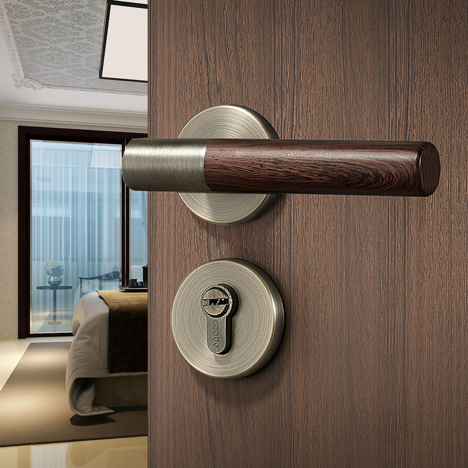 1 set Antique bois motif intérieur porte serrure salon/chambre noir porte poignée serrure portes