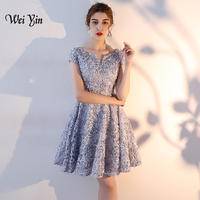 weiyin Women Cocktail Party Dress 2019 Elegant A Line Mini Gray Lady Cocktail Dresses Short Dresses WY877