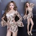 Мода ds сексуальный костюм блестка dj певица закрутила одежда цельный dress