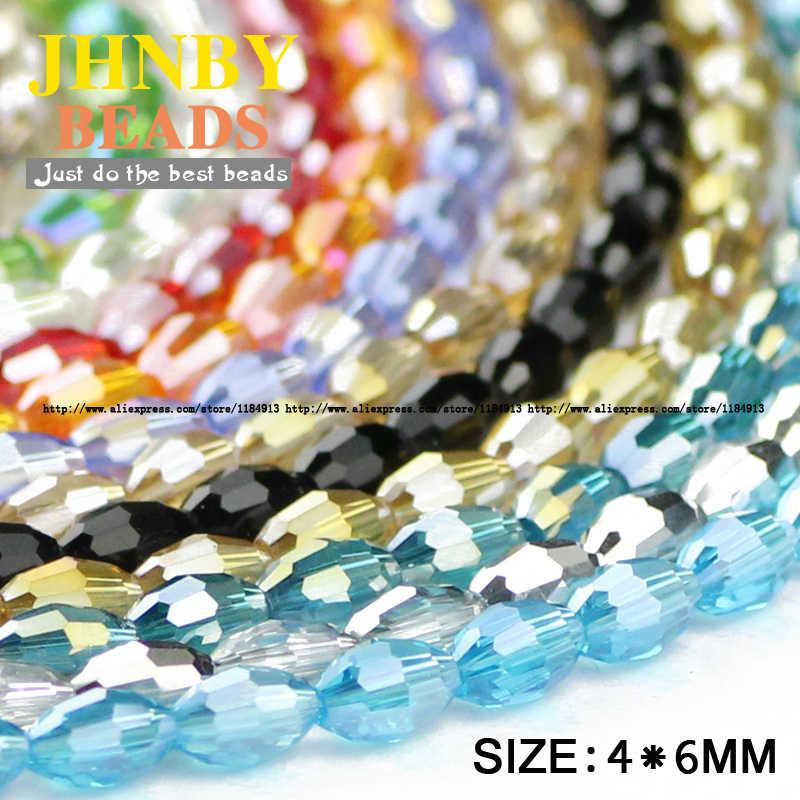 Jhnby grãos de arroz contas de cristal austríaco 100 pçs alta qualidade 4*6mm forma oval grânulos soltos artesanal jóias pulseira fazendo diy