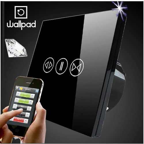 EU UK Crystal Glass Black Wifi Curtain Switch,Wallpad Wireless Remote control wall touch Curtain switch,Free Shipping eu 1 gang wallpad wireless remote control wall touch light switch crystal glass white waterproof wifi light switch free shipping
