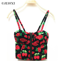 Crop Top Tank Tops 2018 Summer Sexy Top Short Tube Top Slim Female Retro Printing With Chest Pad Harness Vest Backless Corset