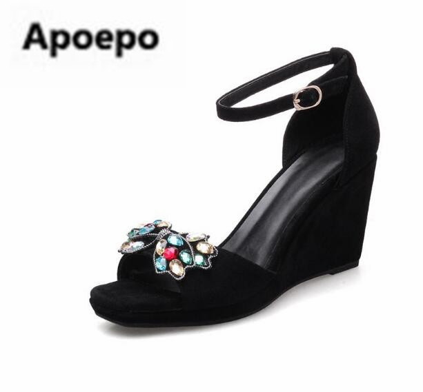 Apoepo brand black peep toe women wedges shoes Color crystal butterfly-knot platform high heels sandals women gladiator shoes moraima snc gladiator shoes black peep toe women wedges shoes color crystal butterfly knot platform high heels sandals women