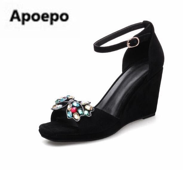Nueva Gladiador Color nudo Sandalias Marca Toe Del Mariposa Cristal Peep Plataforma Cuñas Las Mujeres Zapatos Negro De rCFqwr