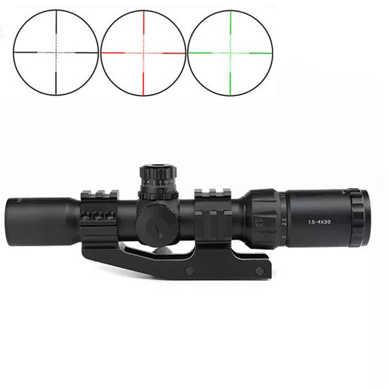 ФОТО Top Tactical Optical Sight 1.5-4x30BE Glass Reticle Red&Green Illuminated Outdoor Hunting Riflescopes with Cover For Russia