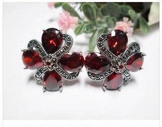 925 bijoux en argent sterling fleur de prunier grenat boucles d'oreilles en argent sterling