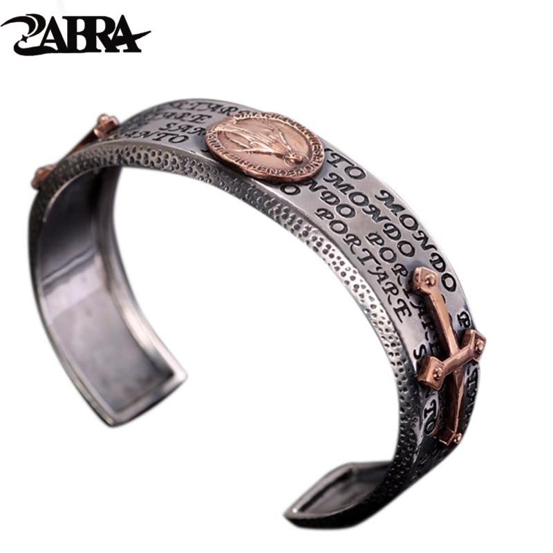A ZABRA 925 ezüst készségek és a régi ezüstmű férfi karkötőkereszt az ősi módok helyreállítása a szűz pár Thai ezüst ékszerek