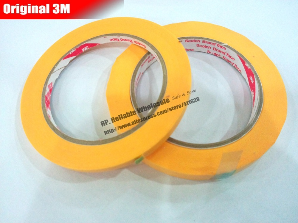 10 Rolls 3M Scotch New Cut (6mm*50M) High Temperature Resistant Masking Paper Tape Yellow 3M244 Coating, PCB SMD Shield цена и фото