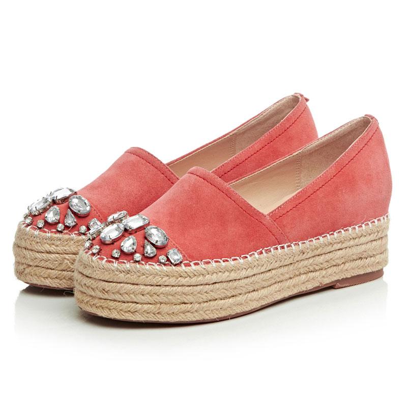 2016 Primavera Mujer Alpargatas de Cuero Genuino Mujer Zapatos de Plataforma Resbalón En Holgazanes Mujeres Pisos