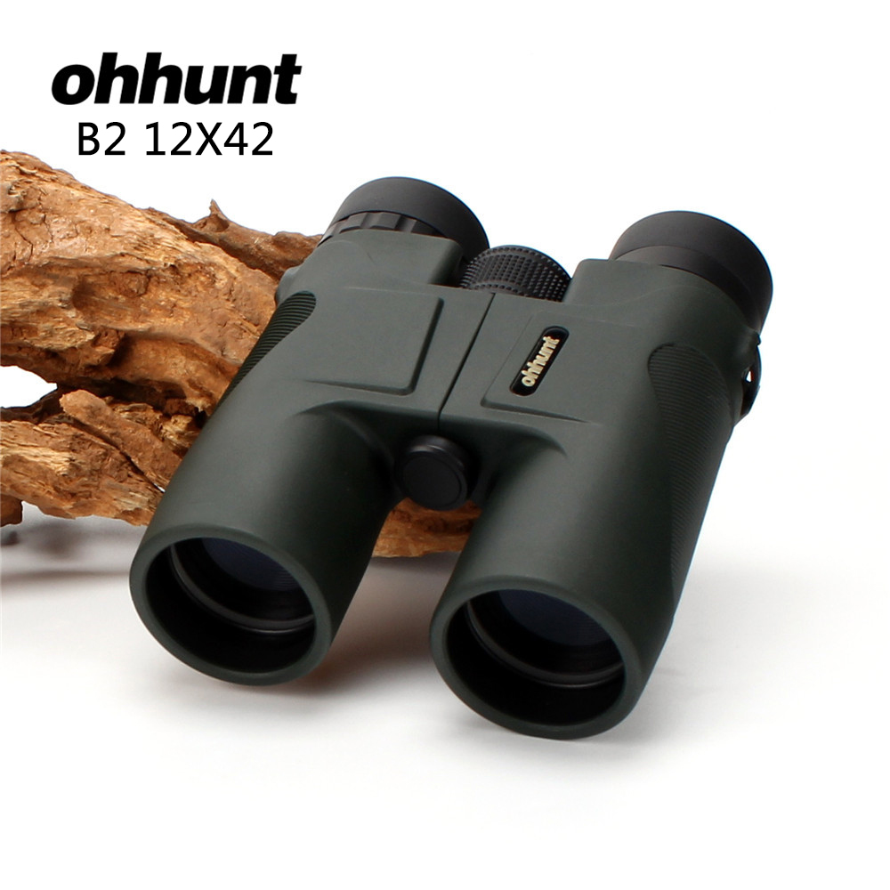 Hunting ohhunt 12X42 Binoculars Waterproof Fogproof Telescope Powerful Bright Optics Scope Camping Hiking Binocular Dark Green