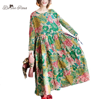 BelineRosa Plus Size Printed Dress Palace Style Floral Printing Dresses Autumn Cotton Linen Ball Gown Dresses