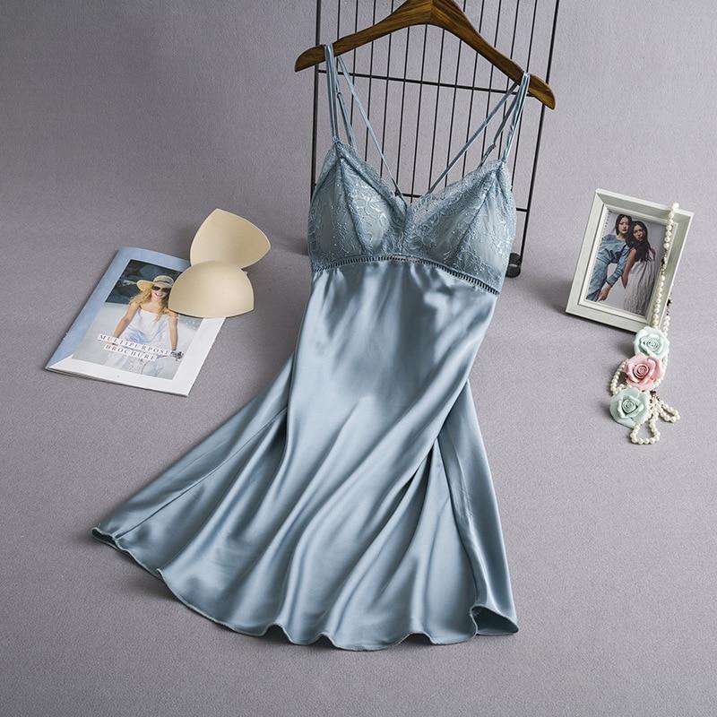 Sleep Lounge   Nightgowns   &   Sleepshirt   With Chest Pad Sleepwear Women Night Dress Sexy Ladie Nightwear Sexy Lingerie Indoor Dress