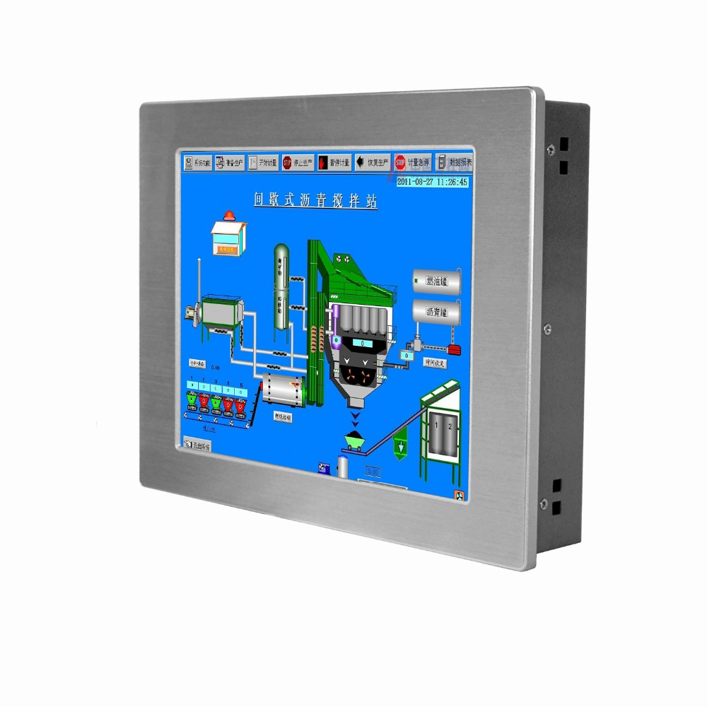 wall mount lcd display 12.1 inch touch screen industrial panel PC with 4-wire resistive all in one pc